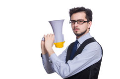Young businessman with loudspeaker. On white Stock Photography