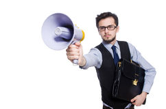 Young businessman with loudspeaker Stock Images