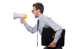 Young businessman with loudspeaker. On white Stock Photo