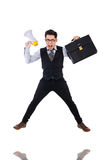 Young businessman with loudspeaker Stock Photo