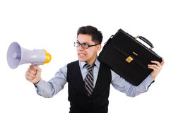 Young businessman with loudspeaker Stock Photography