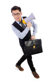 Young businessman with loudspeaker. On white Stock Photos