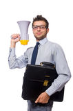 Young businessman with loudspeaker. On white Royalty Free Stock Images