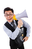 Young businessman with loudspeaker. On white Royalty Free Stock Image