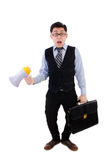 Young businessman with loudspeaker. On white Stock Images