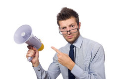 Young businessman with loudspeaker. On white Royalty Free Stock Photography