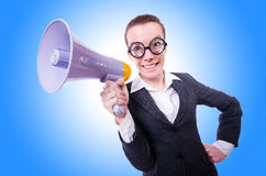 Young businessman with loudspeaker Royalty Free Stock Photo