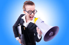 Young businessman with loudspeaker. On white Royalty Free Stock Photo