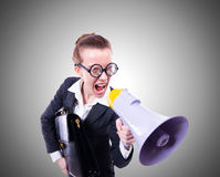 Young businessman with loudspeaker on the white Royalty Free Stock Image