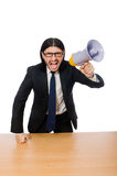 Young businessman with loudspeaker on white Stock Image