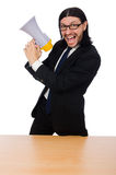 Young businessman with loudspeaker on white. The young businessman with loudspeaker on white Stock Photos