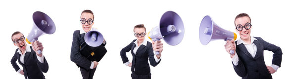 The young businessman with loudspeaker on white. Young businessman with loudspeaker on white Stock Photos