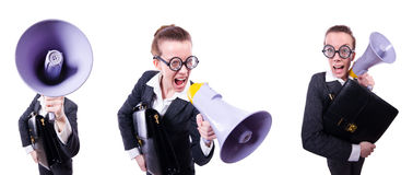 The young businessman with loudspeaker on white Royalty Free Stock Images