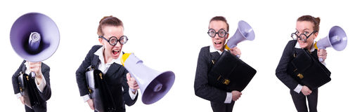 The young businessman with loudspeaker on white Royalty Free Stock Photo