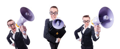 The young businessman with loudspeaker on white Stock Photos