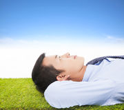 Young businessman lying on a meadow Royalty Free Stock Image