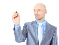 Businessman makes a record Royalty Free Stock Photo