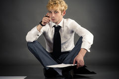 Young businessman making a choice Stock Photo