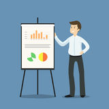Young businessman or manager standing next to flipchart, present. Ing graphs and statistics - flat vector illustration royalty free illustration