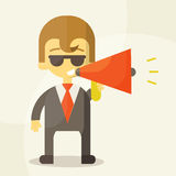 Young businessman with a megaphone Stock Photography