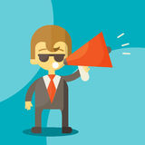 Young businessman with a megaphone Royalty Free Stock Photos