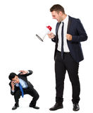 Young businessman with a megaphone Stock Images