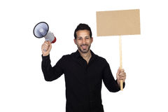 Young businessman with a Megaphone and a poster proclaiming some Stock Images