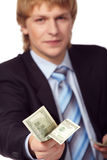 Young businessman with money royalty free stock image
