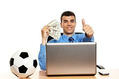 Young businessman with money Stock Image