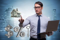 The young businessman in mortgage concept Royalty Free Stock Photos