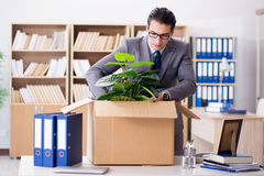 The young businessman moving offices after being made redundant. Young businessman moving offices after being made redundant Royalty Free Stock Photography