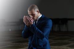Young Businessman Muslim Praying Stock Photo