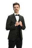 Young Businessman with mustache Royalty Free Stock Photography