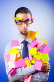 Young businessman with  notes Royalty Free Stock Photos