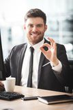Young businessman in office Royalty Free Stock Photos