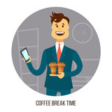 Young businessman or office worker with two cups of coffee agrees on smartphone with friends or colleagues about coffee Stock Photo
