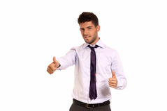 Young businessman ok symbol gesture with two hands. Isolated on white background Stock Images