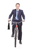 Young Businessman On A Bicycle Stock Photos