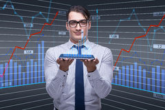 The young businessman in online trading concept Stock Photos