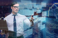 The young businessman in online trading concept Royalty Free Stock Photography