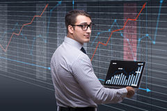 The young businessman in online trading concept Royalty Free Stock Photo