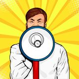 Young businessman with open mouth and megaphone screaming announcement. Colorful vector pop art. Young businessman with open mouth and megaphone screaming stock illustration