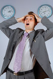 Young businessman in panic Stock Photo