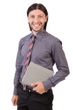 Young businessman with paper isolated on white Royalty Free Stock Photo