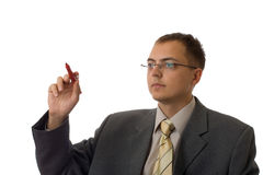 Young businessman with pen Stock Images