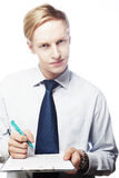 Young businessman with pen and documents, isolated Stock Image