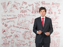 Young businessman with pen Royalty Free Stock Photography