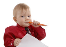 The young businessman with a pencil in a hand Stock Photo