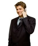 Young businessman on the phone. Handsome young man in suit on the phone Royalty Free Stock Image