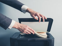 Young businessman photo copying a book Stock Photo